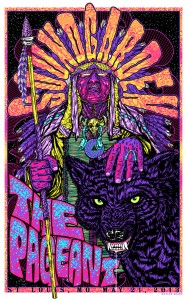 """This is screen printed on 100lb Cougar White, thick stock paper. 6 color print with flourescent inks and is 22.5 x 36"""". Signed & Numbered. Limited edition run of 225."""