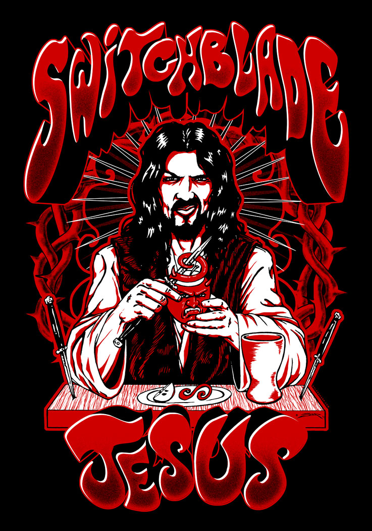 Shirt and poster design for rock band Switchblade Jesus