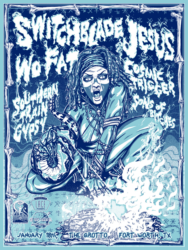 Screen print poster design for Sons Of Bitches, Cosmic Trigger, Southern Train Gypsy, Wo Fat & Switchblade Jesus.